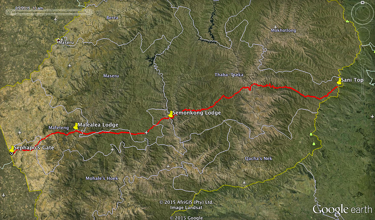 Map Lesotho and Track
